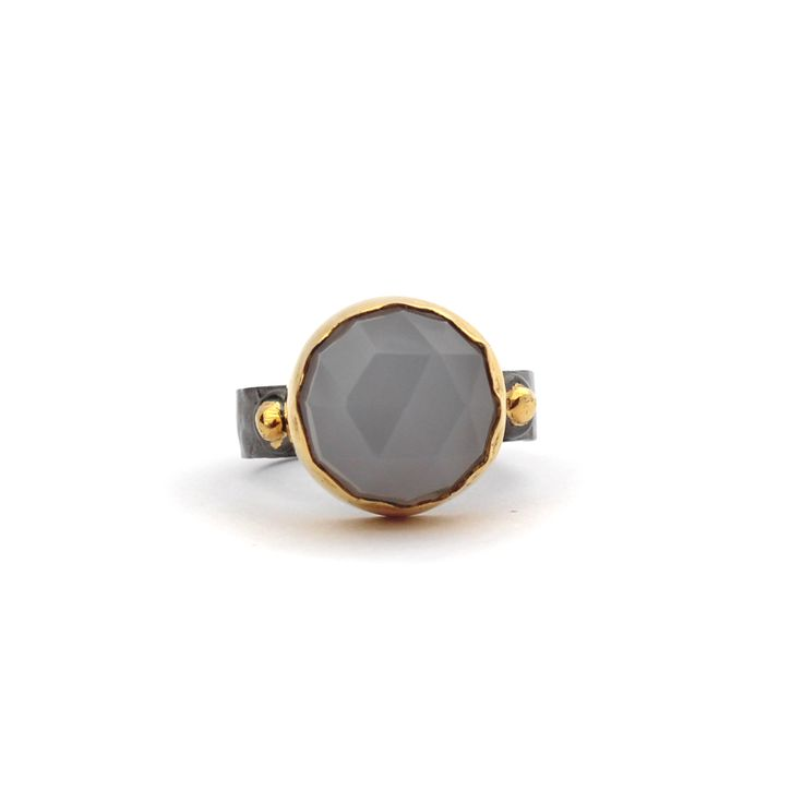 Aysu Ring - Kate McCoy | Aysu is a Turkish name meaning Moon water. Handmade from #sterlingsilver and finished in #blackrhodium and 14 kt #yellowgold #vermeil. #Fashion #Ring #Lifestyle