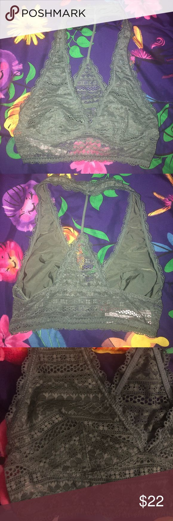 VS Olive Bralette Olive green lace bralette, great condition! Used once & washed properly; not put in dryer  No rips, stains, or snags  Open to offers! Victoria's Secret Intimates & Sleepwear