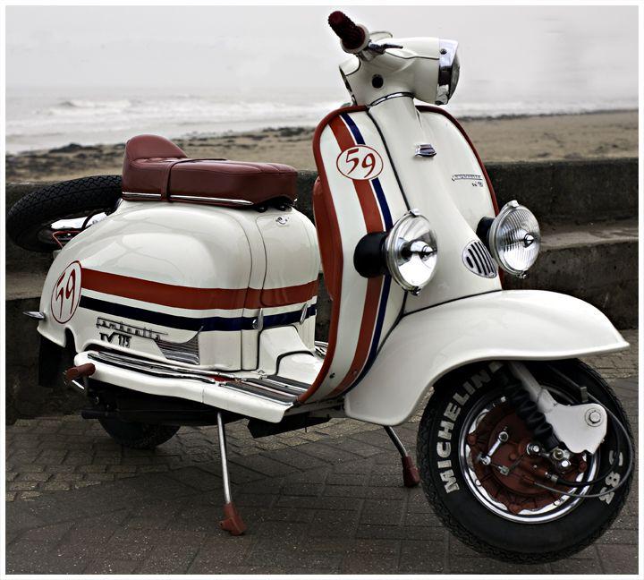 Classic Vintage Moped:  Lambretta series 2. Classic Car Art&Design @classic_car_art #ClassicCarArtDesign