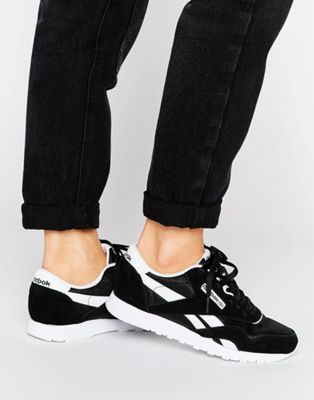 Reebok Classic Nylon Sneakers In Black And White