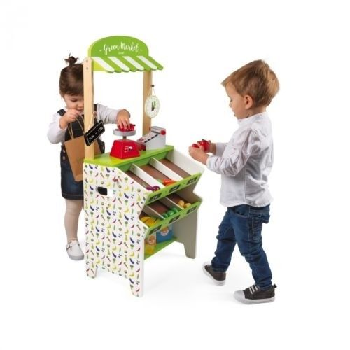 Janod - Pretend Play Green Market Grocery Store