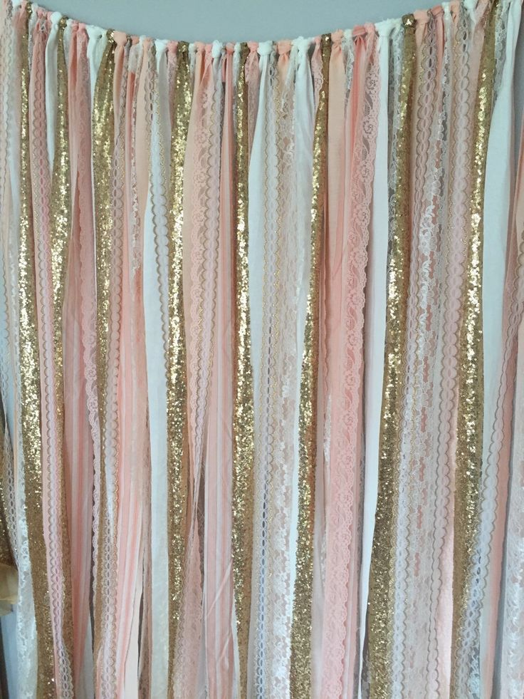 Peach Pink Gold Sparkle Sequin Fabric Backdrop With Lace Wedding Garland Photo