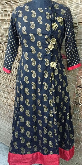 Red and Black ... A combination you can never resist with a touch of gold Style - Angrakha With strings Material - Cotton Lining - None Accessories - None Care