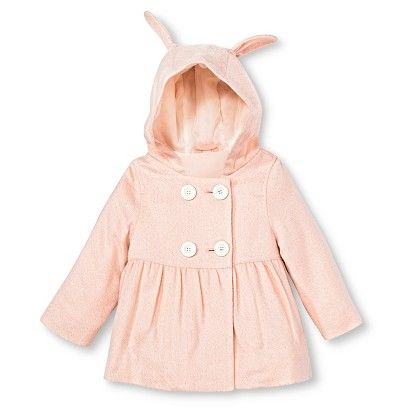 Toddler Girls' Peacoat with Bunny Ears - Pink