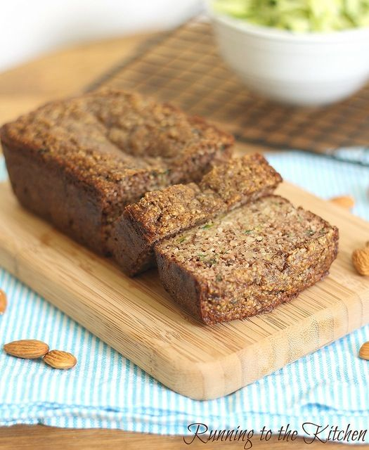 Almond Zucchini Bread - made into muffins.  So moist and delish!  Substituted agave for the maple syrup.