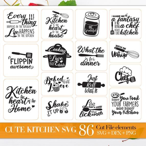 Svg Bundle Of Kitchen Svg Kitchen Quotes Svg Files Sayings Handlettered Svg Kitchen Towel Svg Files For Cricut Dxf Files For Laser Quote Svg Files Svg Quotes Kitchen Quotes
