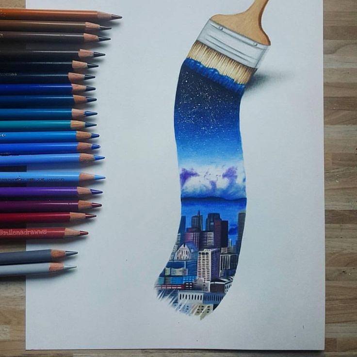 Paint. Paintbrush. Sky. Skyline. City. Artist:??