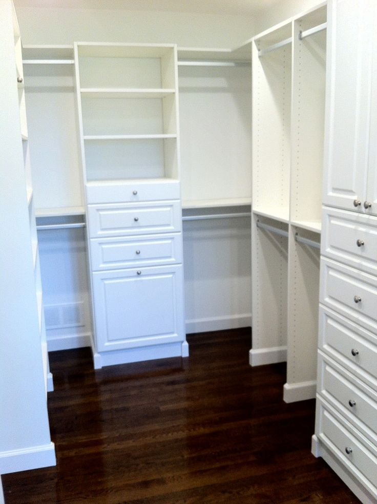 White Melamine Walk In Closet Organizer Consisting