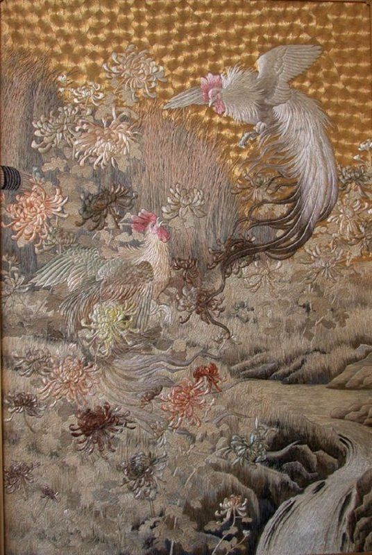 Japanese Silk and Gold Embroidery, Meiji Period