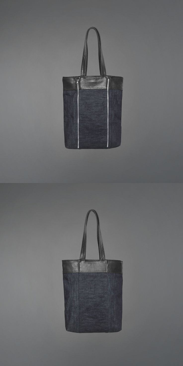 Laurie Tote Bag - denim & recycled leather http://ervinlatimer.com/product/laurie-bag