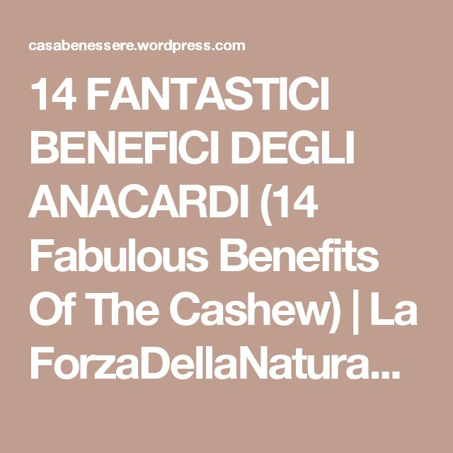 14 FANTASTICI BENEFICI DEGLI ANACARDI (14 Fabulous Benefits Of The Cashew)   La ForzaDellaNatura's Blog