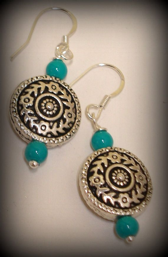 Antique Silver and Turquoise Bead Scrolled by Septsapphire45, $15.00