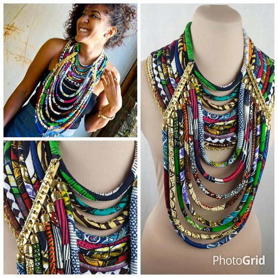 Gold Accented Multistrand Ankara Necklace  by ETurnerCouture