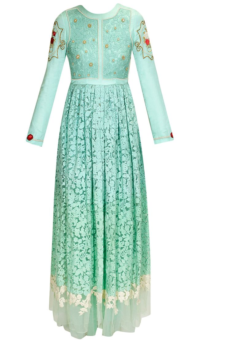 Teal blue thread rose embroidered anarkali set available only at Pernia's Pop Up Shop.