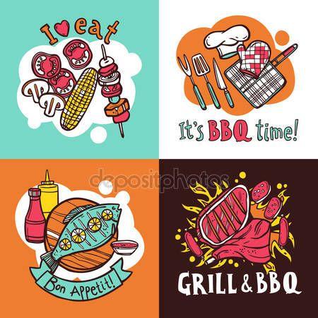 Μπάρμπεκιου σχάρα έννοια σχεδίου που με κρέας και ψάρι μπάρμπεκιου σκίτσο εικονίδια απομονωμένες εικονογράφηση φορέας — Αρχείο Εικονογράφησης #69395917