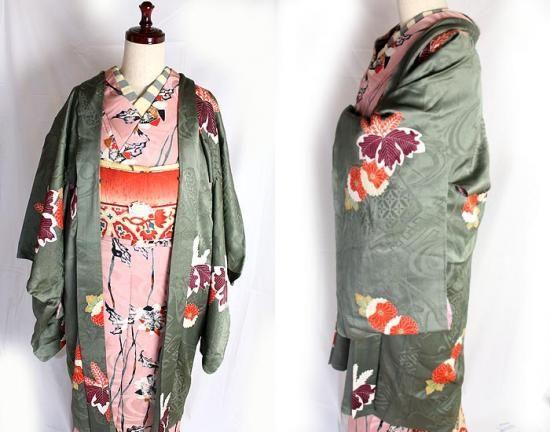 紋入り桐の花の錦紗縮緬袷着物/アンティーク - ポップでガーリーな普段着物・ヘッドドレス・古道具・雑貨・アンティークやアーティスト作品の販売 『chiwachiwa ちわちわ』