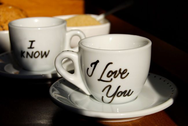 Coffee cups #calligraphy #handlettering | I Love You - I Know | from MarikaSalerno.com