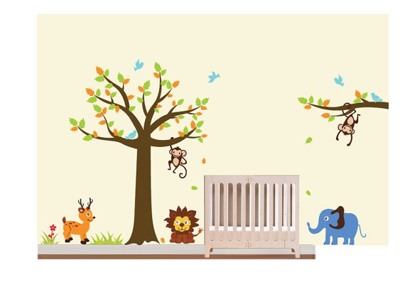 Baby Nursery Wall Decals StickersChildren Safari By NurseryWallArt, $115.00