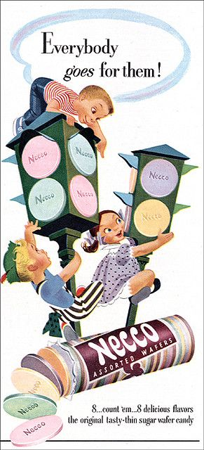 What flavor were those dark ones? Root beer?  Necco Candy Ad 1951