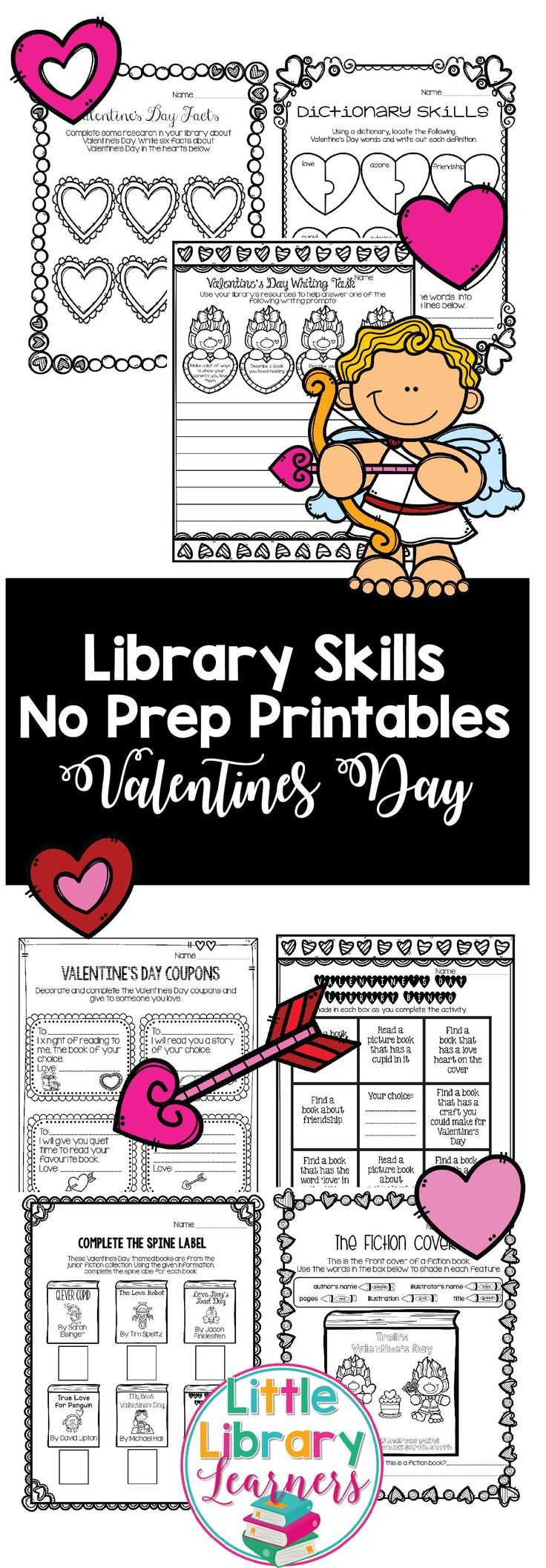 This Library Valentine's Day themed resource is perfect to teach your students library skills with a fun Valentine's Day theme! Library skills activities include information location, research, writing skills, fiction and non-fiction and more!