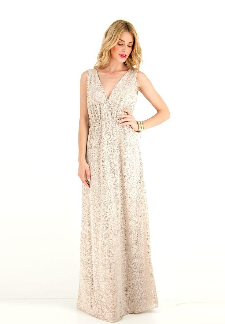 Μακρύ αμάνικο δαντελένιο κρουαζέ φόρεμα με ανοιχτή πλάτη