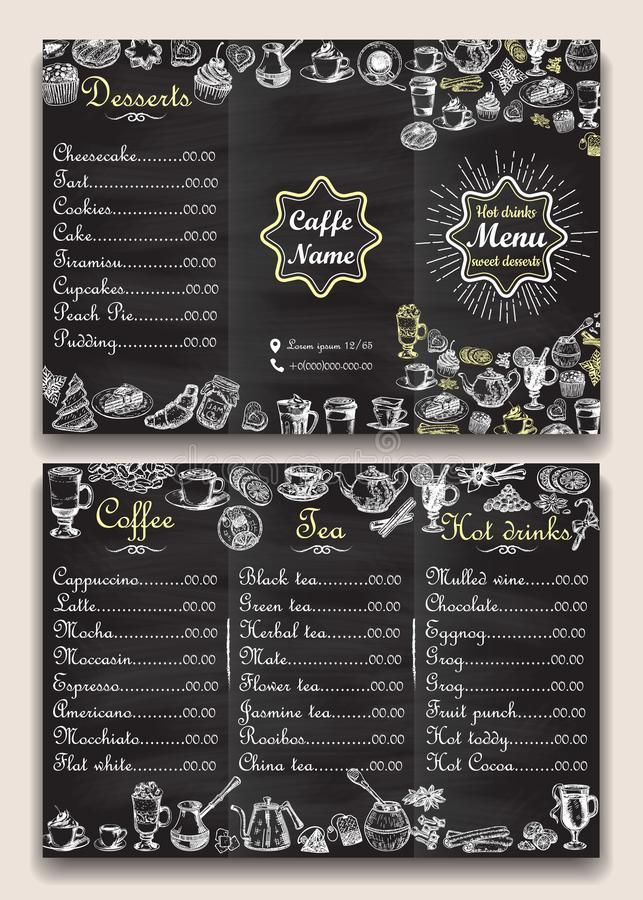 Restaurant Hot Drinks Menu Design With Chalkboard Background Vector Illustration Template In Vintage Style Hand Drawn Photo About Creative Font