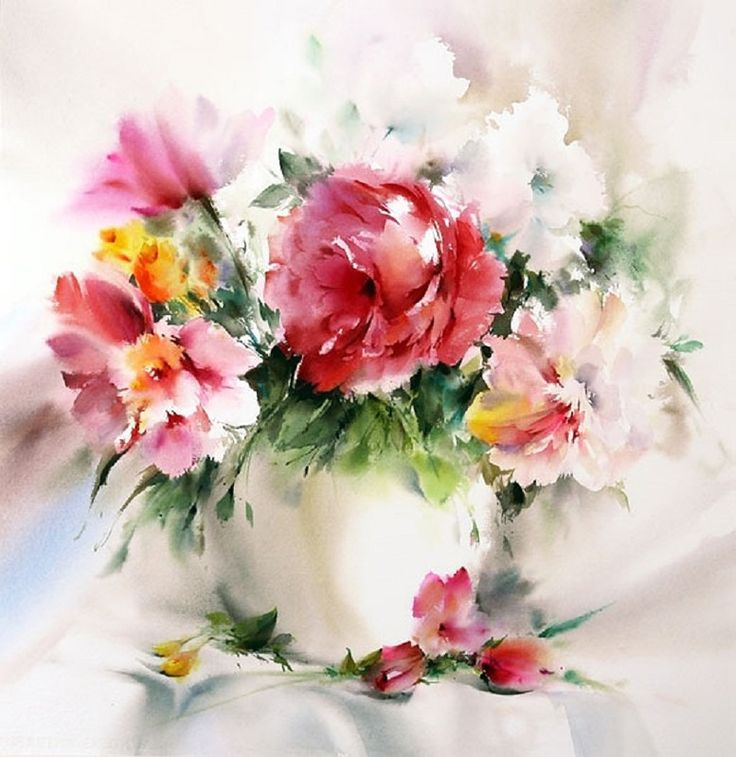 I carry a bouquet of your favorite! Watercolor Mohammada Yazdcha