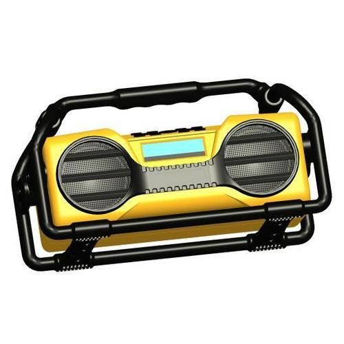 Industrial BoomBoX Rugged Bluetooth Speaker, Heavy-Duty & Splash-Proof Stereo Radio, Portable Wireless Sound System, USB/SD/MP3/FM Radio (Yellow)