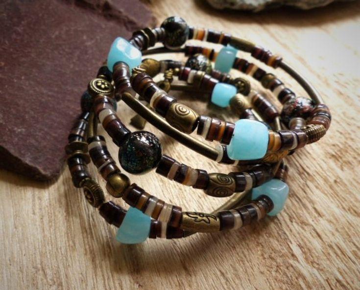 bracelet ethnique multirangs turquoise bleu vert polymère marron bronze