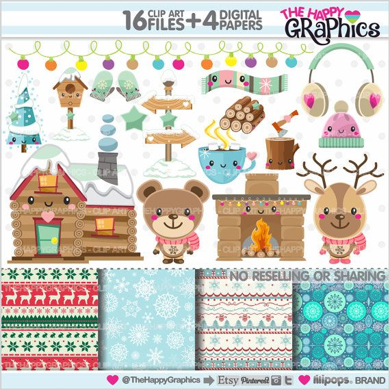 Winter Clipart, Winter Graphics, COMMERCIAL USE, Kawaii Clipart, Winter Party, Planner Accessories, Winter Wonderland, Christmas Clipart