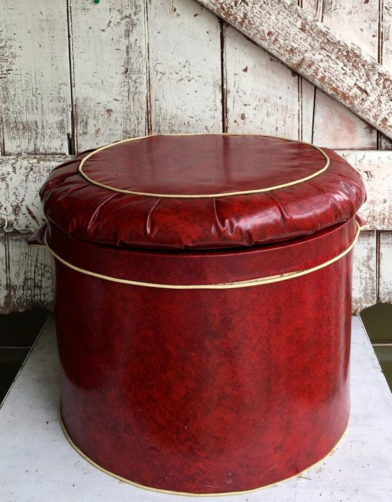 Red Vinyl Round Storage Ottoman Footstool Hock Vintage Mid Century Retro Lid Lifts Off For