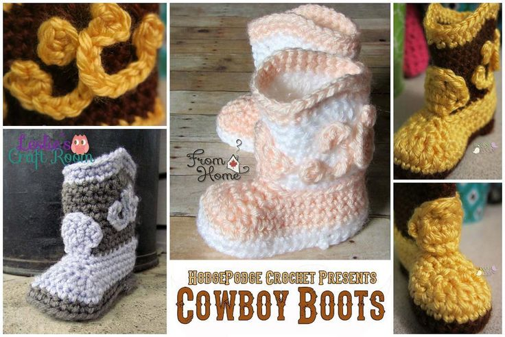 Cowboy Boots by Tanya Naser | Free Crocheting Pattern - Looking for your next project? You're going to love Cowboy Boots by designer Tanya Naser. - via @Craftsy