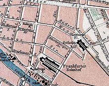 Lage des alten Ostbahnhofs u.des Frankfurter Bahnhofs(Spaeter Schlesischer Bahnhof)Karte v.1875