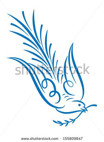 white dove with olive branch on white background