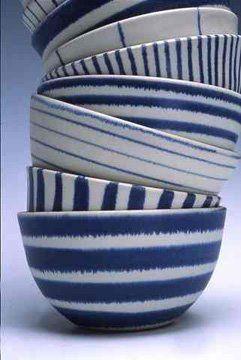 Blue and white ceramics from British potter, Sue Binns
