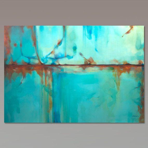 Oranje blauw abstract schilderij, groot schilderij. Afmeting: 195 x 130 cm (76,7 x 51.2 inch) Oranje blauw abstract schilderij, grote schilderij, op