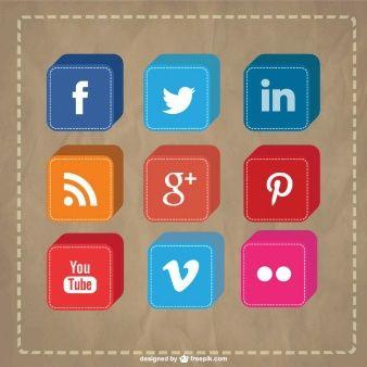 Vector 3D social media icons set