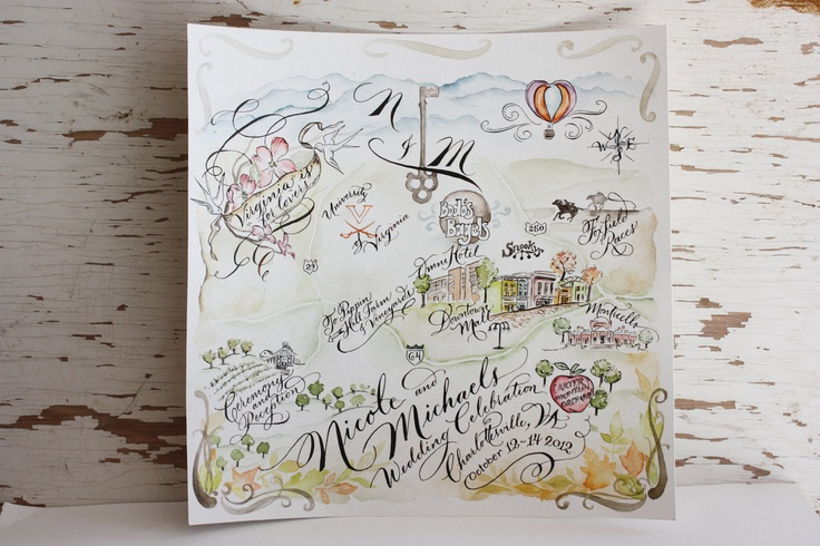 A whimsical, custom save the date watercolored wedding map from QuillMuse.