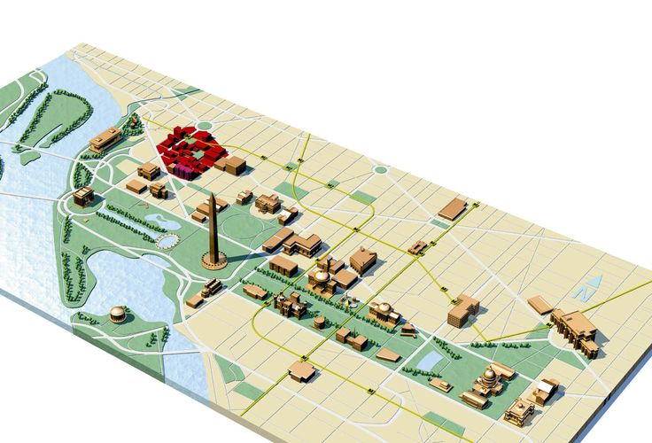 3D style map of National Mall, Washington DC.