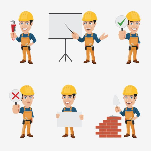 Set Of Construction Worker Character In 6 Different Poses Construction Worker Clipart Construction Worker Png And Vector With Transparent Background For Free Character Illustration Business Person Cartoon Clouds