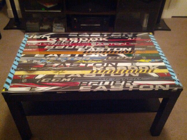 Hockey Stick Coffee Table Use Old Shafts And Piece Of Plexi Glass Lay On Top Old Crappy Coffee
