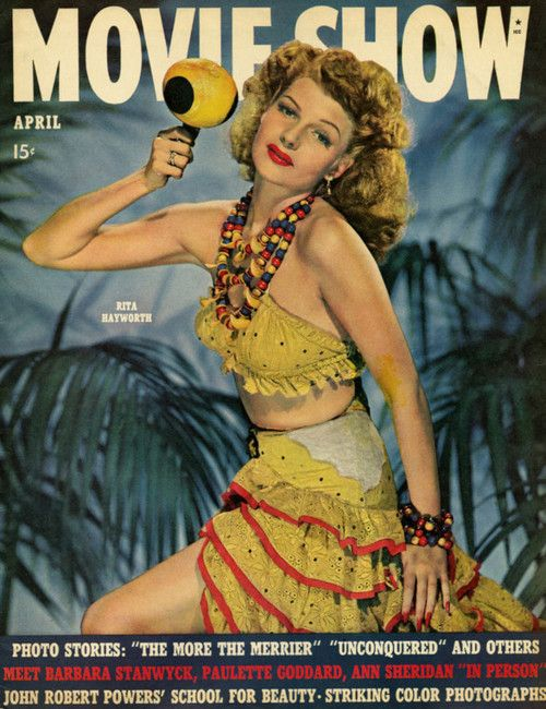 Rita Hayworth on the cover of Movie Show magazine, April 1943, USA.