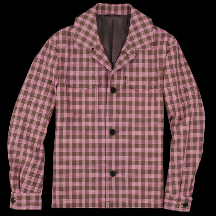 Tomorrowland - Silk Seersucker Shirt Jacket in Pink & Brown Check