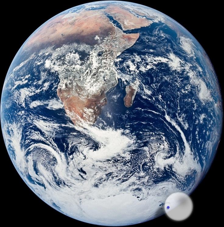 Día Mundial del Agua. Buen momento para recordar también que cantidad de agua potable hay en la Tierra: el punto azul dentro de la esfera blanca es toda el agua dulce que tenemos en el planeta. http://www.medioambiente.org/2012/05/el-volumen-de-agua-dulce-de-la-tierra.html
