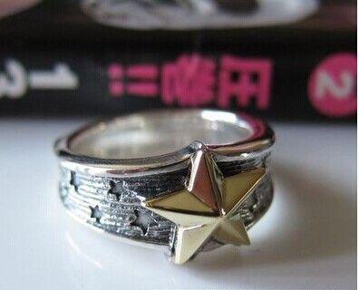 Японский тайский серебряный мужской г-жа супер личности г-жа мужской пентаграмма безымянный палец кольцо