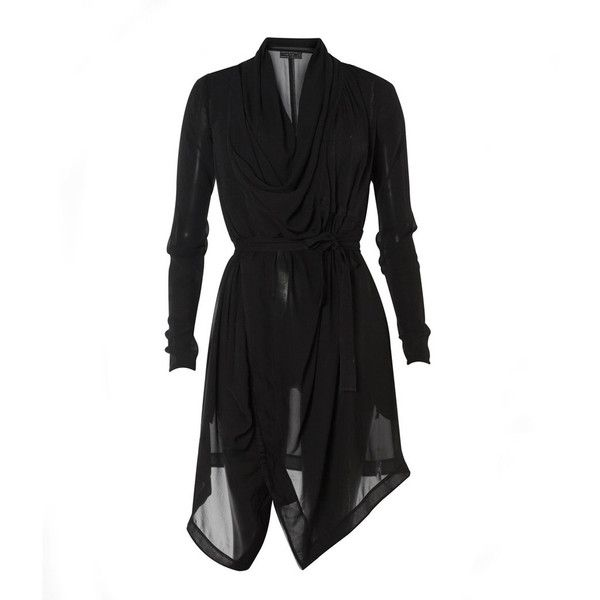 Alexa Dress ($135) ❤ liked on Polyvore featuring dresses, vestidos, asymmetrical dresses, waist belts, long sleeve cowl neck dress, cowl neck dress and allsaints dress