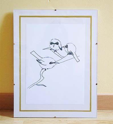 Sur la branche. Illustration au stylo. Offrez vous des oiseaux pour votre déco intérieur ! Impression d'après un original au stylo à encre.
