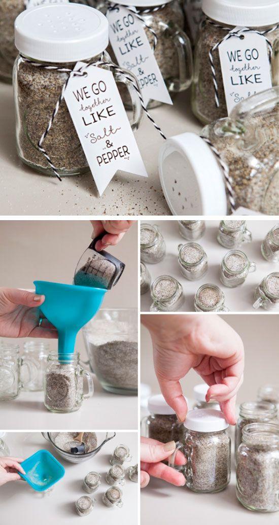 DIY Salt & Pepper (Mason Jar) Favors | Click for 18 DIY Rustic Wedding Ideas on a Budget | DIY Rustic Wedding Decor Ideas