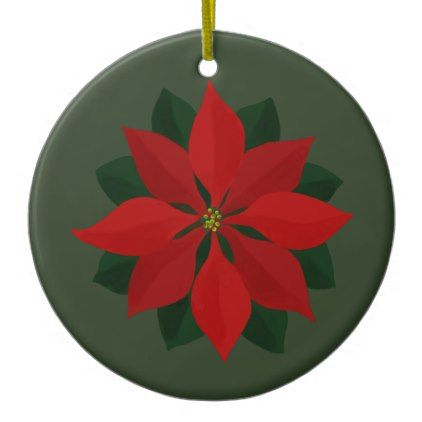 Merry Christmas Photo and Poinsettia Ceramic Ornament - merry christmas diy xmas present gift idea family holidays