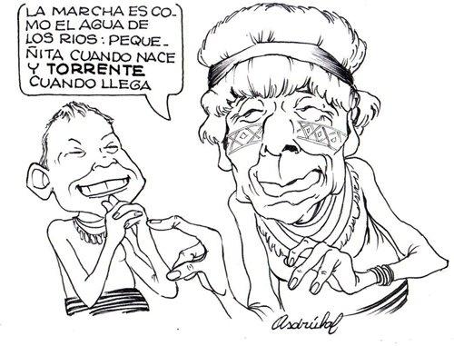 8 marzo.Marcha por la Vida sale con 200 personas de El Pangui, provincia de Zamora Chinchipe, Amazonía ecuatoriana. Caricatura Asdrúbal.